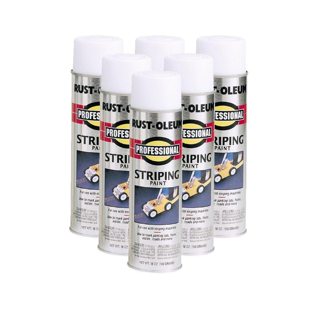 Rust-Oleum 18 oz. Flat White Professional Striping Spray Paint (6-Pack)-DISCONTINUED