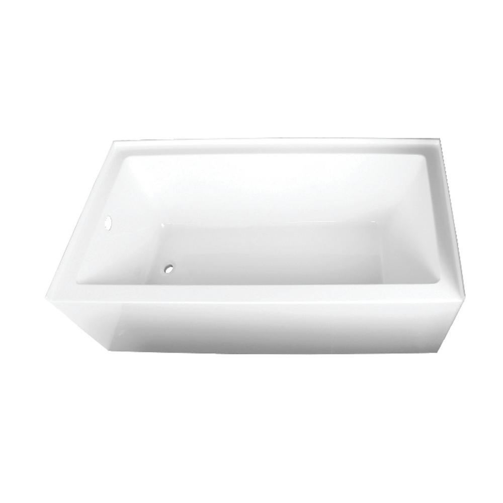 Kingston Brass Aqua Eden Sarah 66 in. Acrylic Left-Hand Drain Rectangular Alcove Bathtub in White