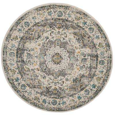 Evoke Gray/Gold 9 ft. x 9 ft. Round Area Rug