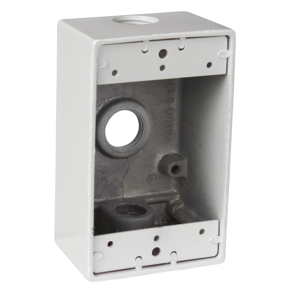 Red Dot 1-Gang Rectangular Weatherproof Junction Box with 3 1/2 in  Holes -  White (Case of 16)