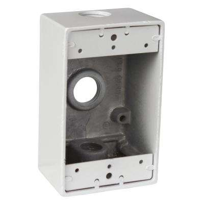1-Gang Rectangular Weatherproof Junction Box with 3 1/2 in. Holes - White (Case of 16)