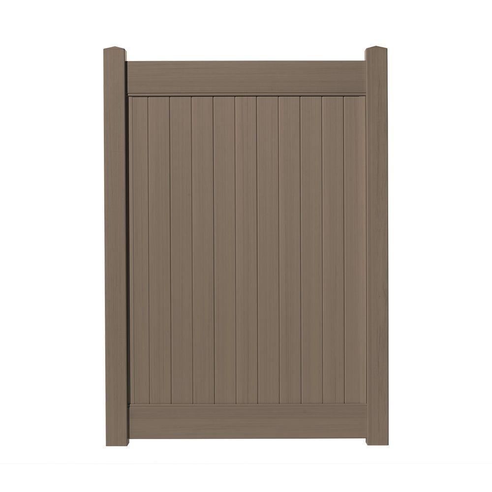 4 ft. W x 6 ft. H Cedar Grove Chestnut Brown Vinyl Privacy Fence Gate