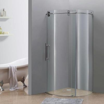 Orbitus 40 in. x 40 in. x 75 in. Completely Frameless Round Shower Enclosure in Chrome with Left Opening