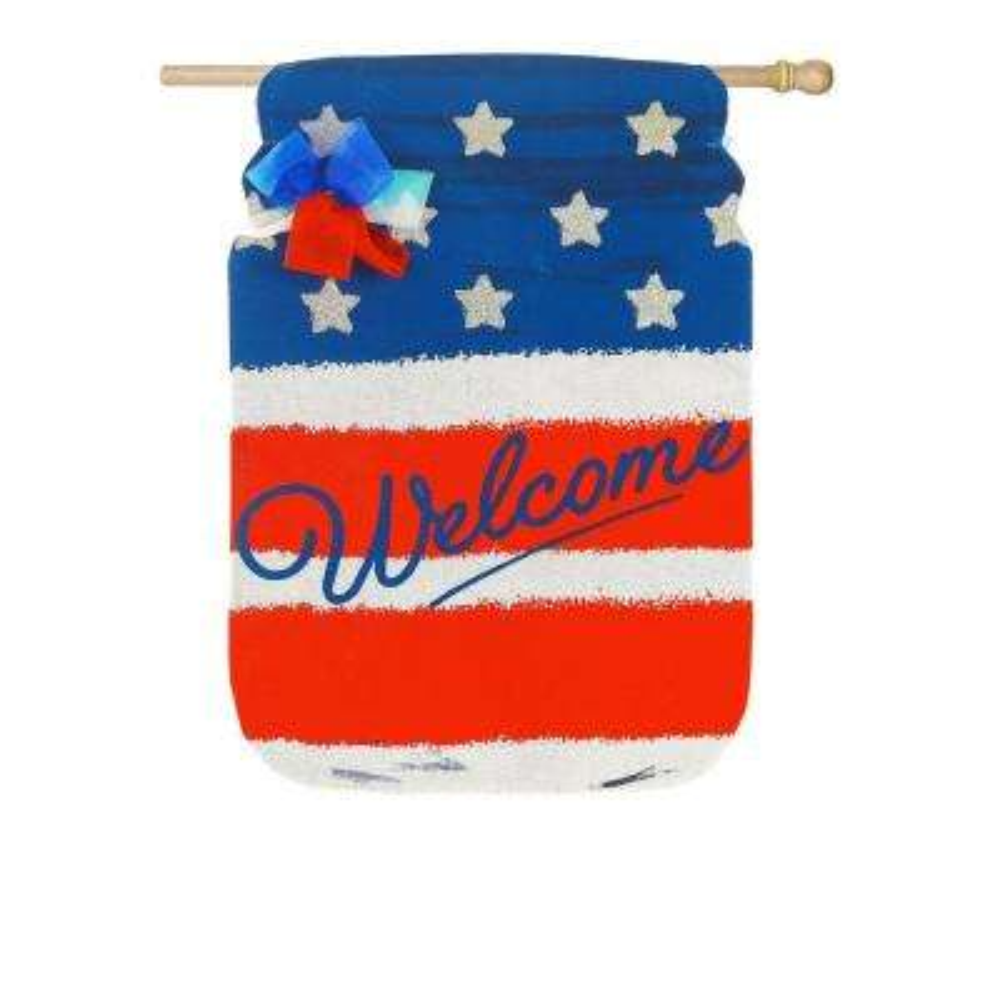 28 in. x 44 in. Patriotic Mason Jar Burlap House Flag
