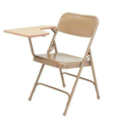 Beige Metal Folding Chair with Right-Handed Tablet Arm (Set of 2)