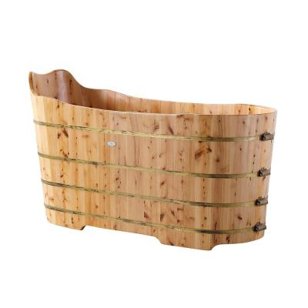 59 in. Wood Flatbottom Bathtub in Natural Wood