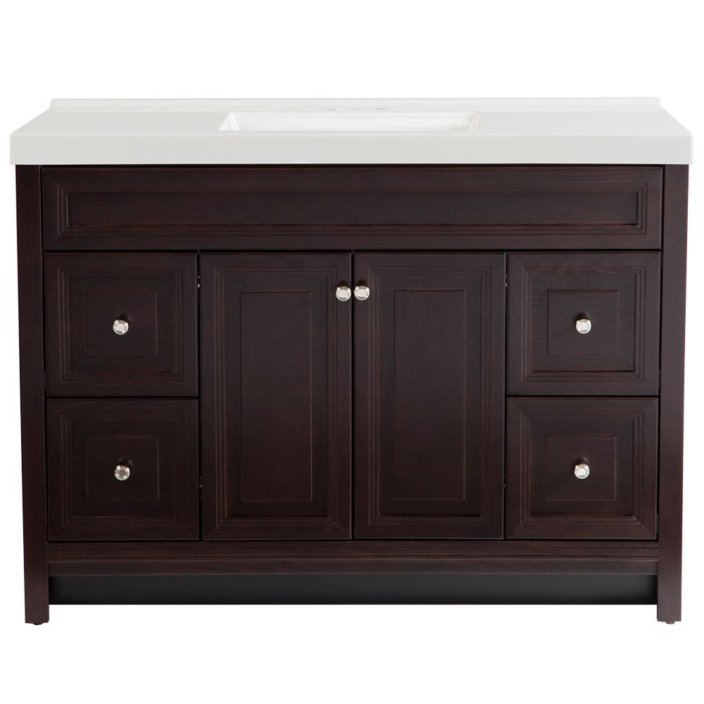 Home Decorators Collection Brinkhill 49 in. W x 22 in. D Bath Vanity in Chocolate with Cultured Marble Vanity Top in White with White Sink