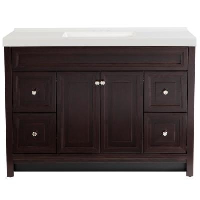 Brinkhill 49 in. W x 22 in. D Bath Vanity in Chocolate with Cultured Marble Vanity Top in White with White Sink