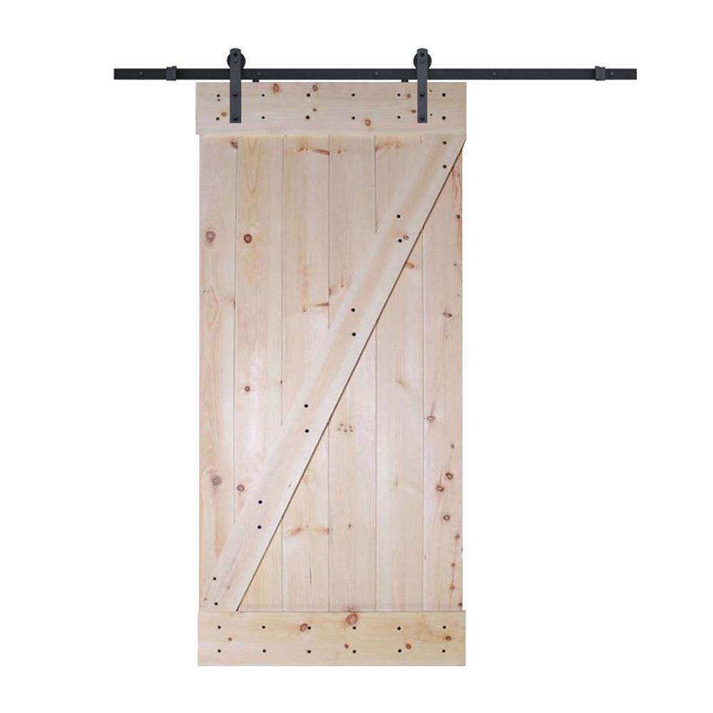 30 in. x 84 in. Z-Bar Unfinished Wood Sliding DIY Barn Door with Sliding Door Hardware Kit