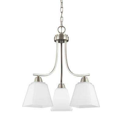 Parkfield 3-Light Brushed Nickel Chandelier with LED Bulbs