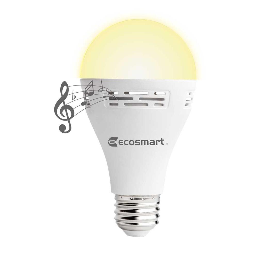 Ecosmart 40 watt equivalent a21 non dimmable smart bluetooth speaker led light bulb soft white Smart light bulbs