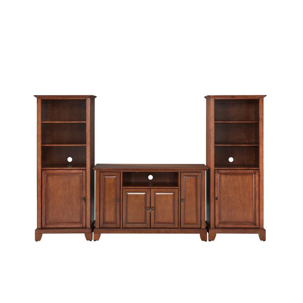 Crosley Newport TV Stand and 2-Audio Piers in Cherry