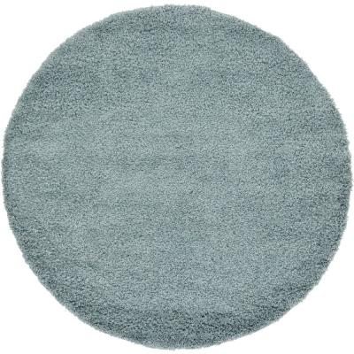 Solid Shag Slate Blue 6 ft. Round Area Rug