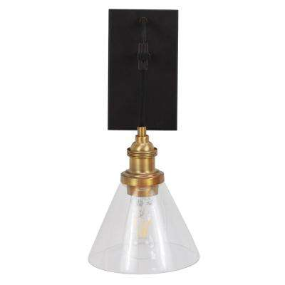 Vincent 11 in. Black and Gold Sconce