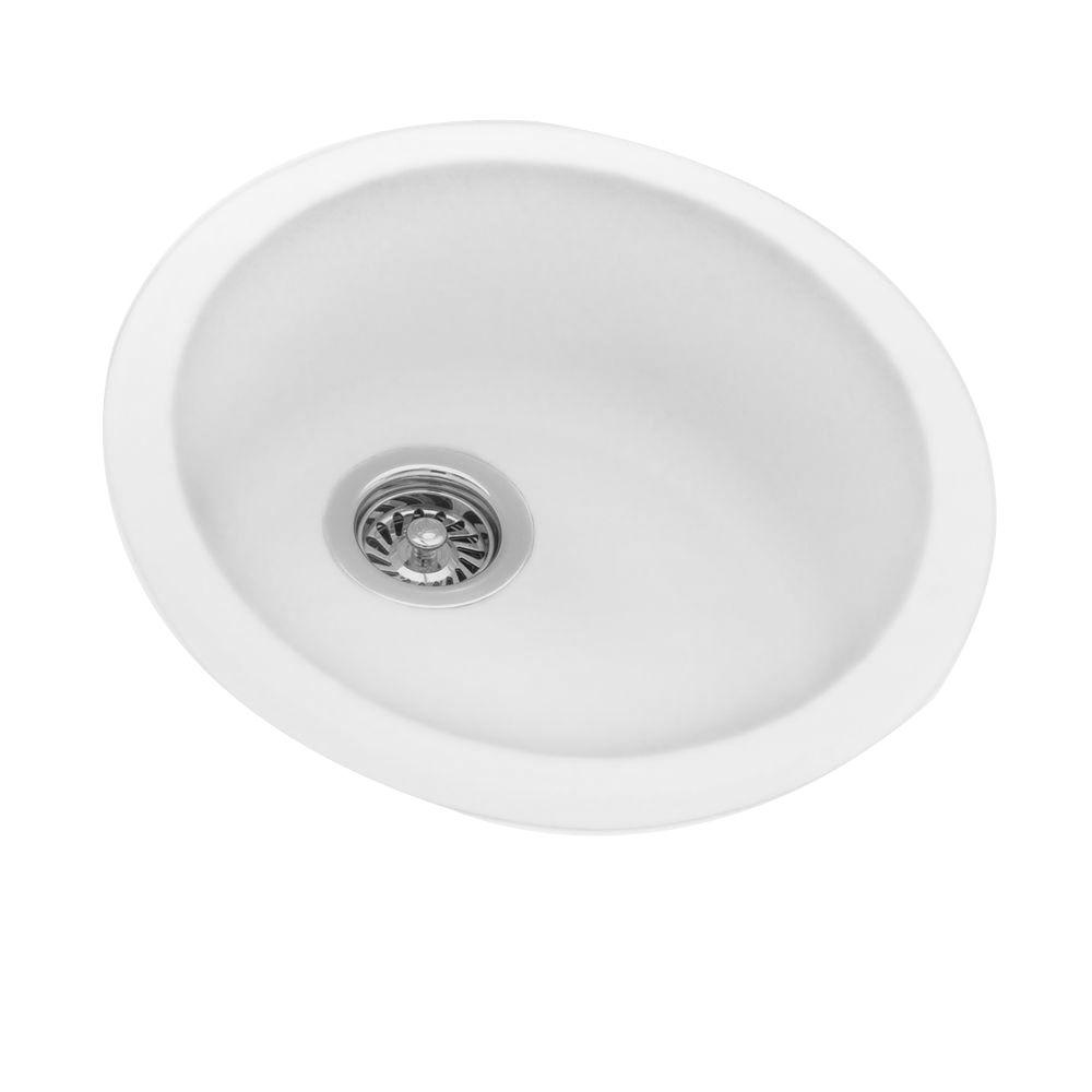 Swan Drop-In/Undermount Solid Surface 18.5 in. 0-Hole Single Bowl Round  Kitchen Sink in White