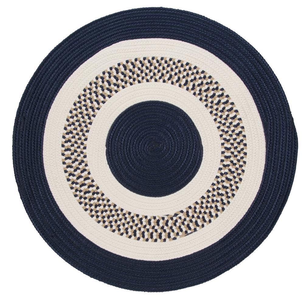 Spiral II Navy 8 ft. x 8 ft. Round Indoor/Outdoor Area Rug