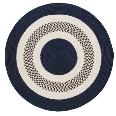 Spiral II Navy 10 ft. x 10 ft. Round Indoor/Outdoor Area Rug
