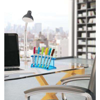 Acrylic 6-Pen Crystal Blue Vertical Premium Pen Display Stand (2-Pack)