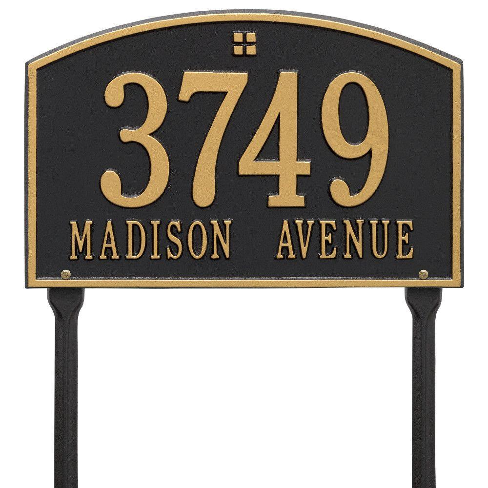 Whitehall Products Cape Charles Rectangular Black/Gold Standard Lawn 2-Line Address Plaque