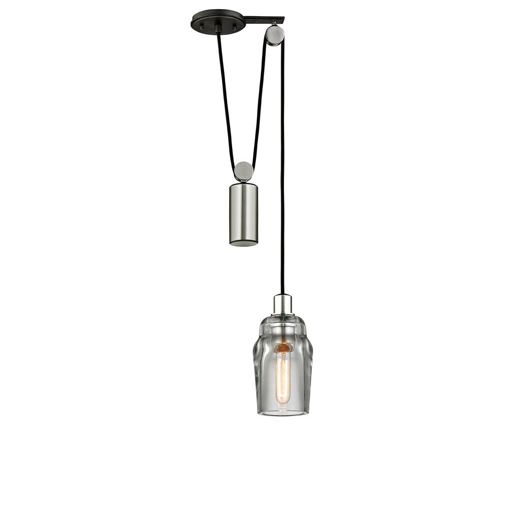 Troy Lighting Citizen 1 Light Graphite And Polished Nickel Mini Pulley Pendant With Clear Pressed