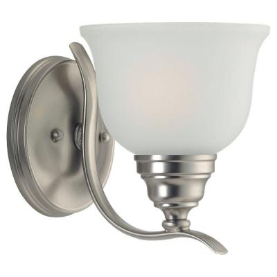 Wheaton 1-Light Brushed Nickel Wall Bath Sconce with Satin Etched Glass Shade
