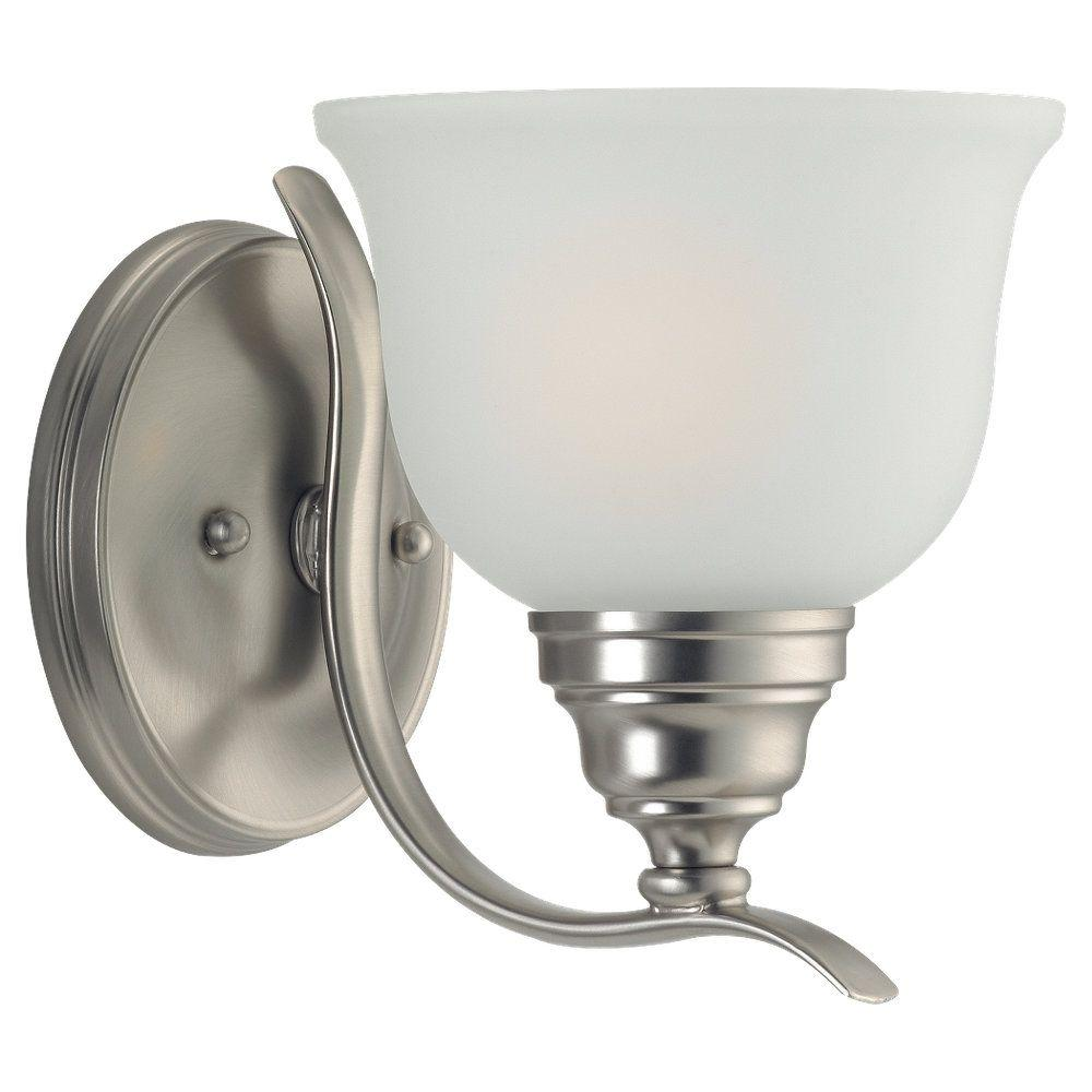 Sea gull lighting wheaton 1 light brushed nickel wall bath - 8 light bathroom fixture brushed nickel ...