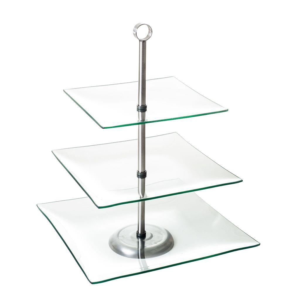 ChefBuddy Chef Buddy 3-Tier Square Glass Buffet and Dessert Stand