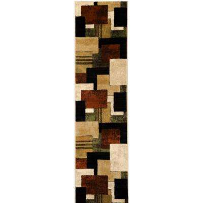 Tribeca Brown/Green 2 ft. x 18 ft. Indoor Runner Rug