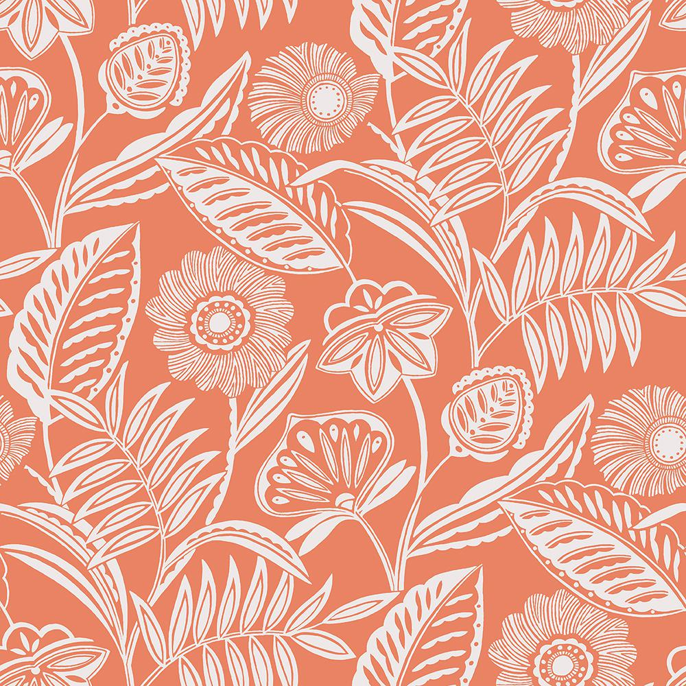 Alma Coral Tropical Floral Paper Strippable Roll (Covers 60.8 sq. ft.)
