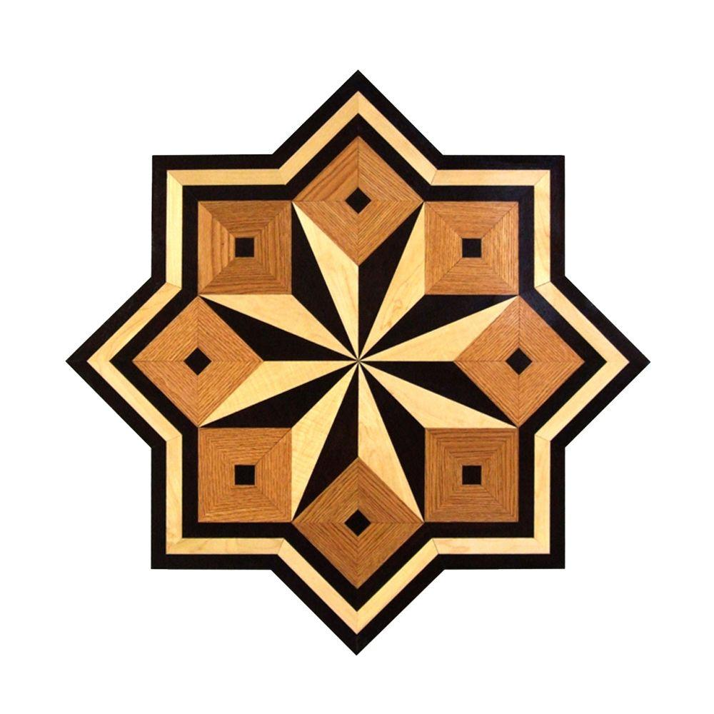 PID Floors 3/4 in. Thick x 24 in. Wide Star Medallion Unfinished Decorative Wood Floor Inlay MS003