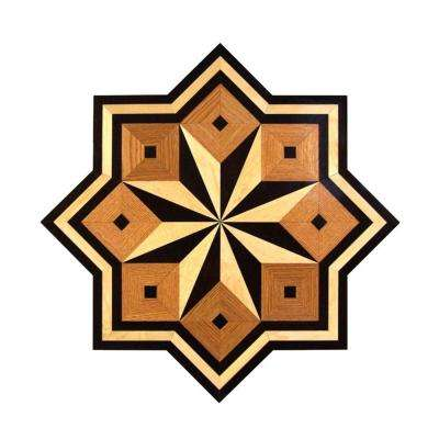 Star Medallion Unfinished Decorative Wood Floor Inlay MS003 - 5 in. x 3 in. Take Home Sample
