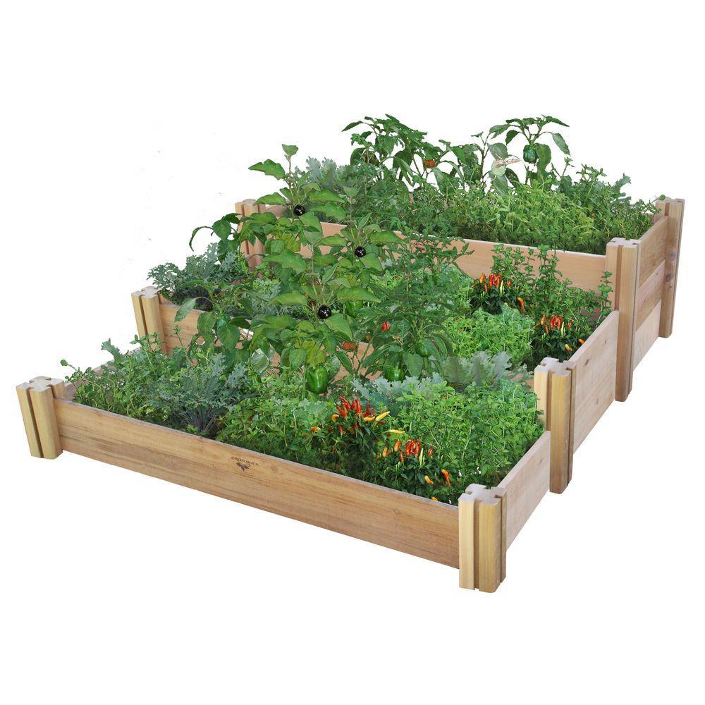 48 in. x 50 in. x 19 in. Multi-Level Rustic Raised Garden Bed