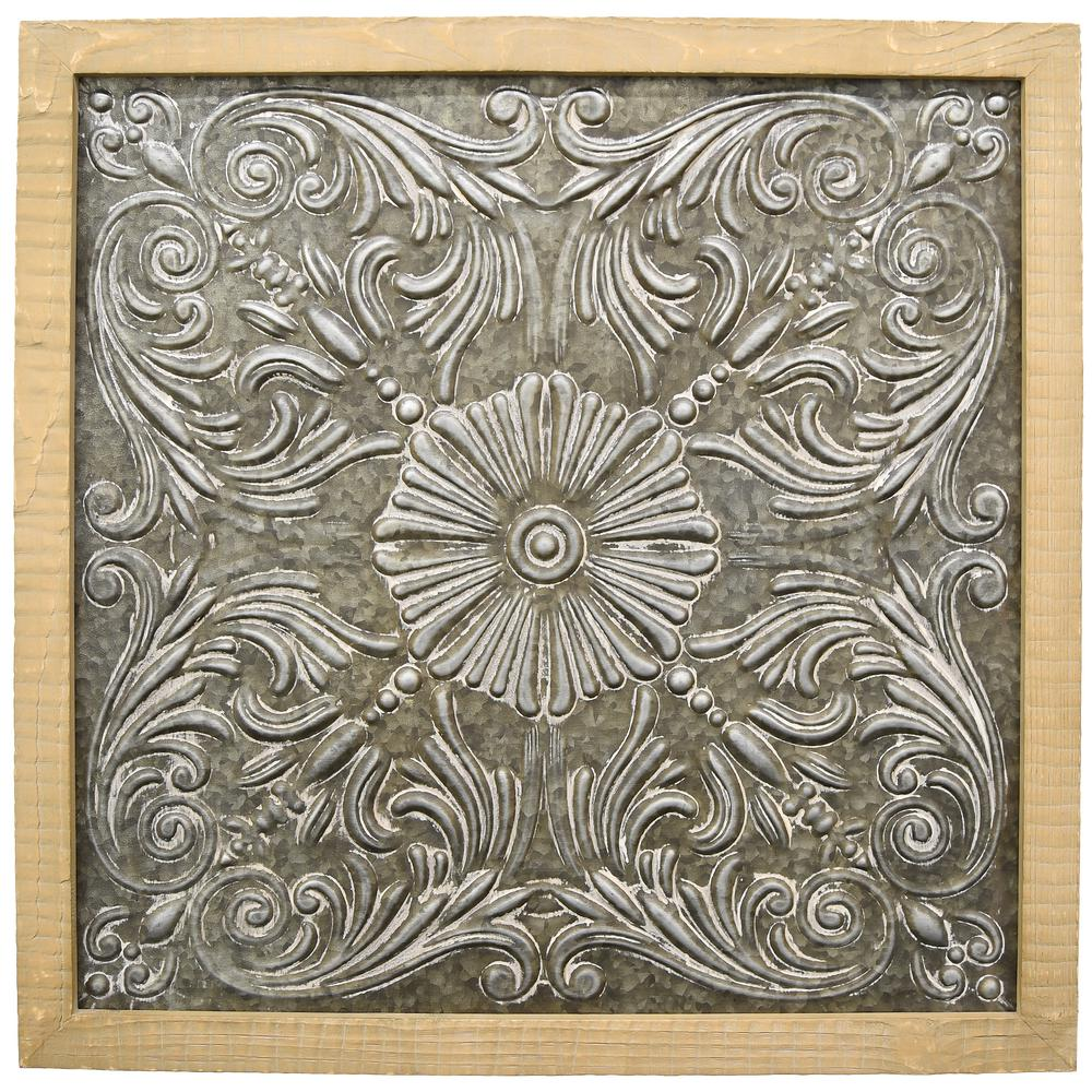 Metal Wood Wall Art Three Hands Metalwood Wall Art17073  The Home Depot