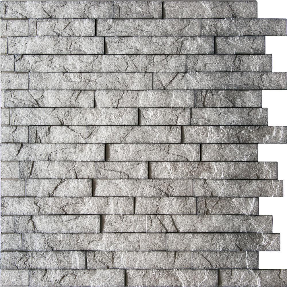 Retro Art Ledge Stone 24 in. x 24 in. Portland Cement PVC Wall Panel