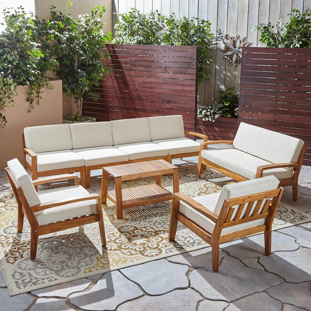 Grenada 8-Piece Wood Patio Conversation Set with Cream Cushions
