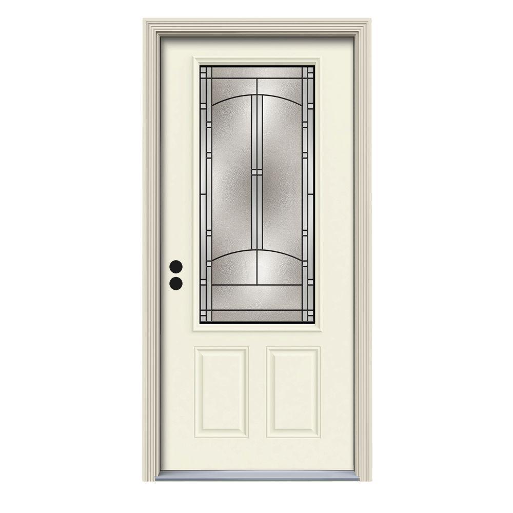 36 in. x 80 in. 3/4 Lite Idlewild Vanilla Painted Steel Prehung Right-Hand Inswing Front Door w/Brickmould