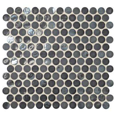Premier Accents Caviar Penny Round 10 in. x 11 in. x 6 mm Glass Mosaic Tile
