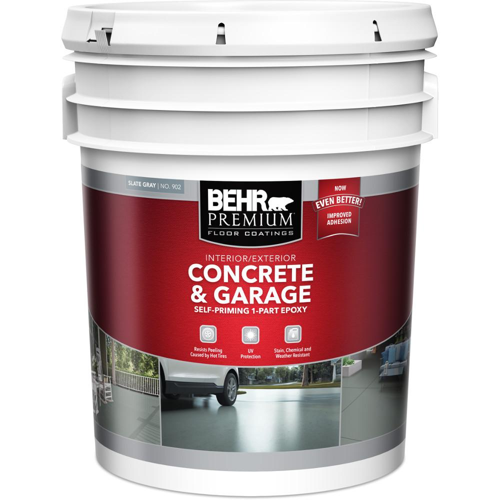 375cc7f08 5 gal. Slate Gray Self-Priming 1 Part Epoxy Interior Exterior Concrete and  Garage Floor Paint