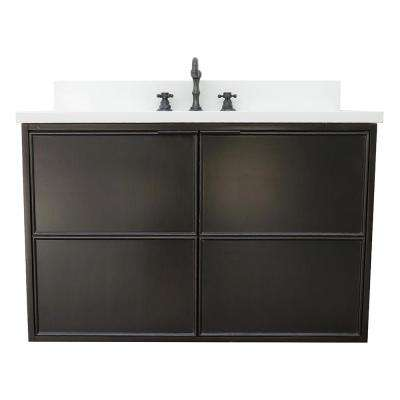 Scandi IV 37 in. W x 22 in. D Wallmount Bath Vanity in Cappuccino with Quartz Top in White with White Rectangle Basin
