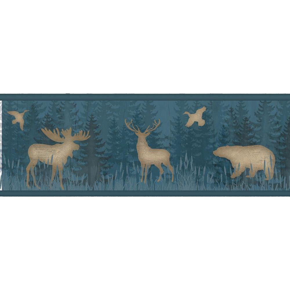 Saylorville Blue Lawndale Wallpaper Border Sample