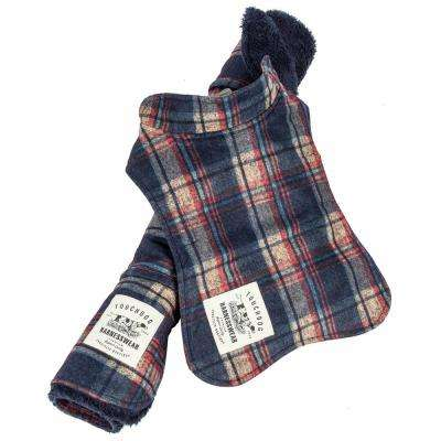Large Navy 2-in-1 Tartan Plaided Dog Jacket with Matching Reversible Dog Mat