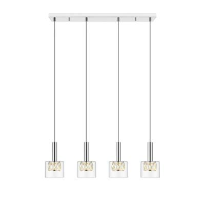 Cider IV Integrated LED Chrome Pendant with Glass Shade