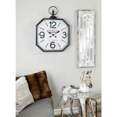 Oversized Octagon-Shaped Antique Black Wall Clock with Large Finial Detail