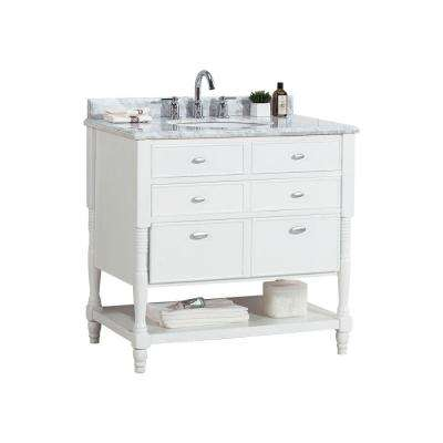 Elizabeth 36 in. W x 21.25 in. D Vanity in White with Marble Vanity Top in White with White Basin