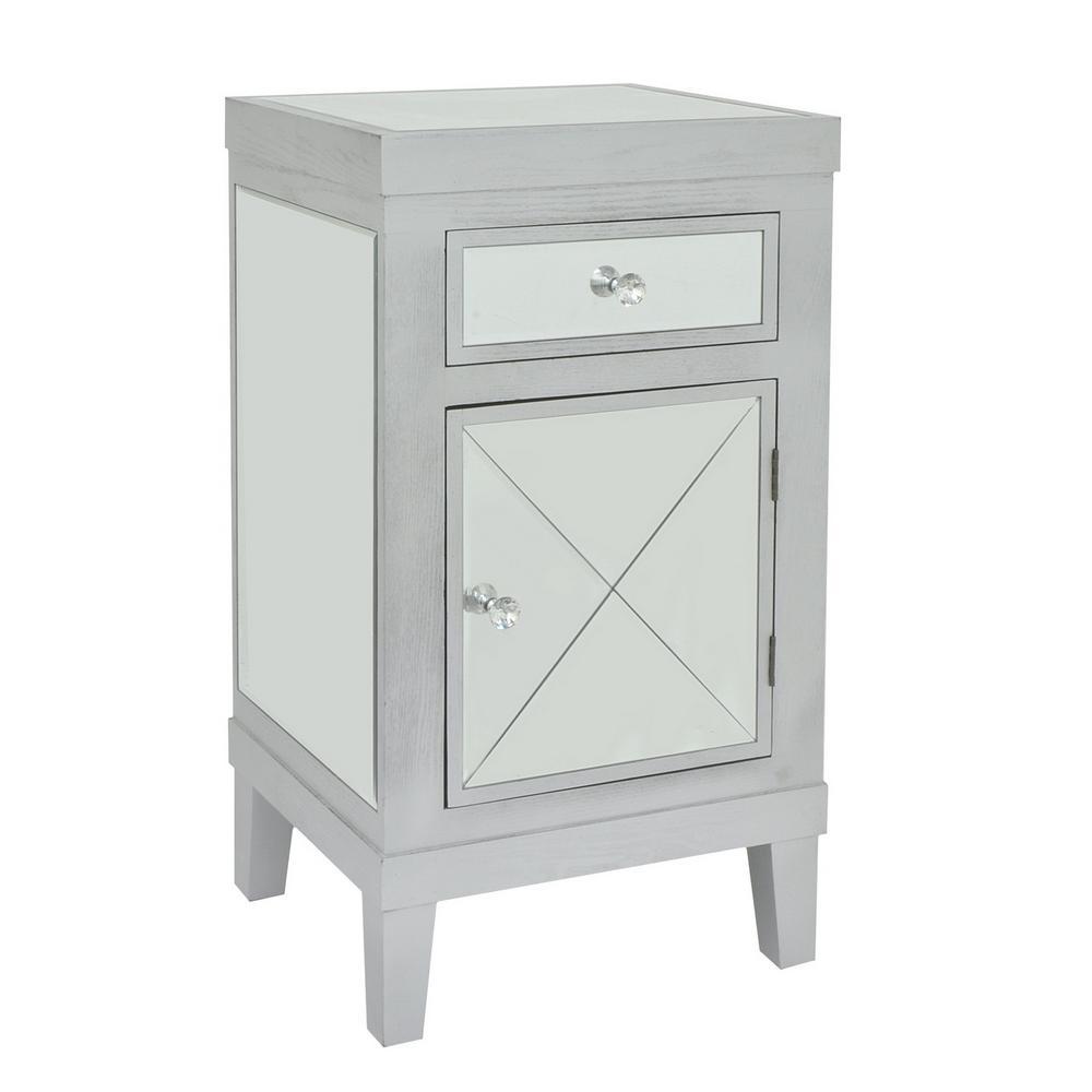 33.5 in. Gray Wood/Mirror 1-Drawer 1-Door Cabinet