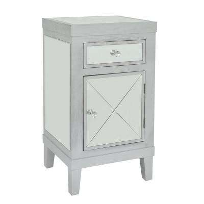 33.5 in. Gray Wood/Mirror 1-Drawer 1-Door Cabinet