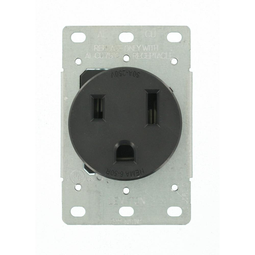 Leviton 50 Amp 2-Pole Flush Mount Shallow Single Outlet, Black