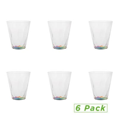 11 oz. Clear Rainbow Tumbler, Acrylic Drinking Glass, Shatter-Resistant Plastic Tumbler, Kitchenware, Drinkware (6-Pack)
