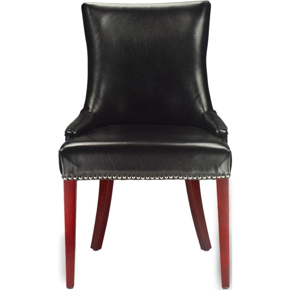 Safavieh becca black leather dining chair mcr4502c the for Black leather dining room chairs