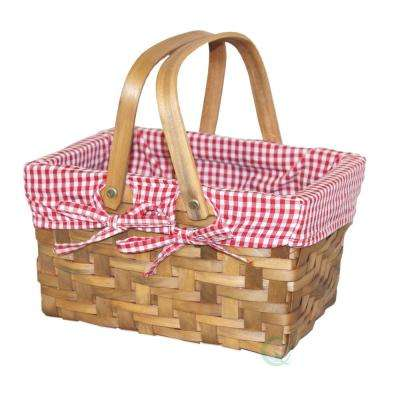 10.2 in. W x 7.7 in. D x 5.5 in. H Wooden Small Rectangular Basket Lined with Gingham Lining
